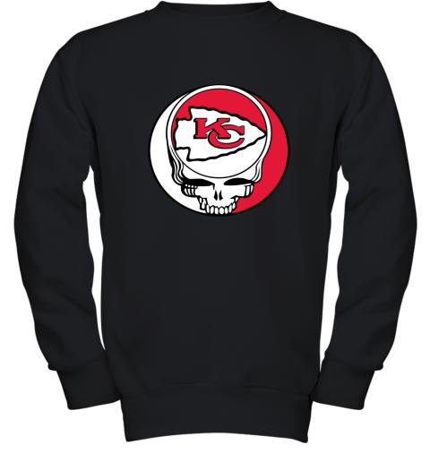 lmdw nfl team kansai city chiefs x grateful dead youth sweatshirt 47 front black