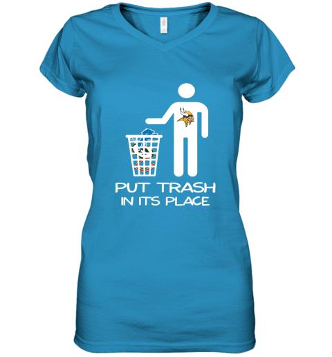 Minnesota Vikings Put Trash In Its Place Funny NFL Women's V-Neck T-Shirt