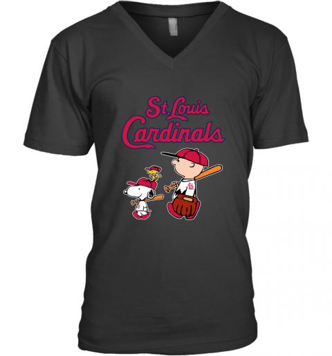 fkos st louis cardinals lets play baseball together snoopy mlb shirt v neck unisex 8 front black