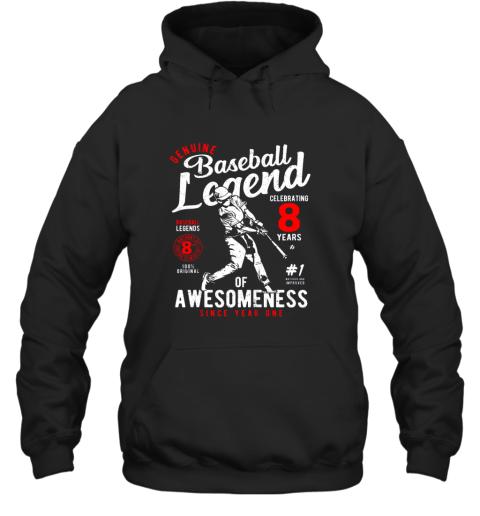 Kids 8th Birthday Gift Baseball Legend 8 Years Hoodie