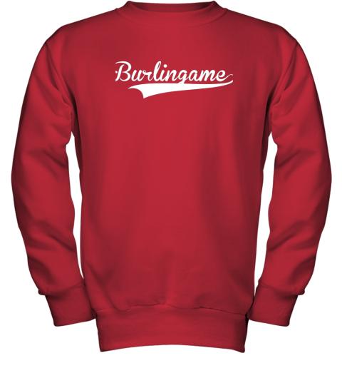 kz5u burlingame baseball softball styled youth sweatshirt 47 front red