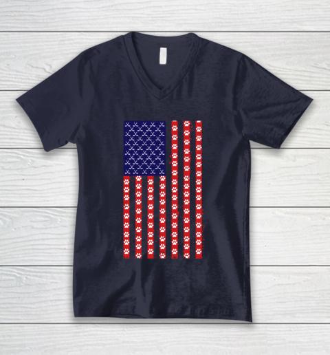 Hockey Dog Lover American Flag V-Neck T-Shirt 2