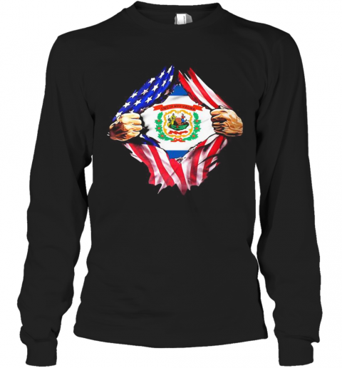 Blood Insides West Virginia State American Flag Independence Day Long Sleeve T-Shirt