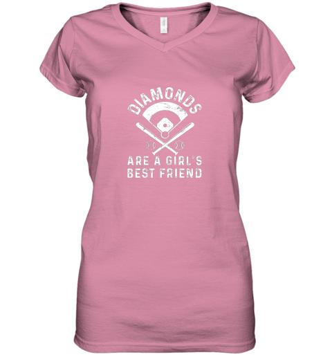 nxj8 diamonds are a girl39 s best friend baseball women v neck t shirt 39 front azalea