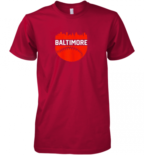 tzyl vintage downtown baltimore maryland skyline baseball premium guys tee 5 front red