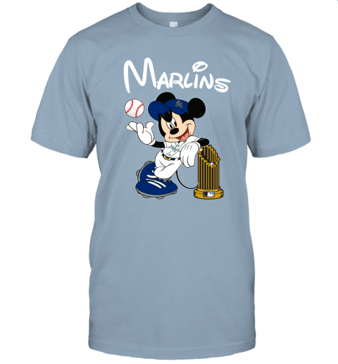 vx98 miami marlins mickey taking the trophy mlb 2019 jersey t shirt 60 front light blue