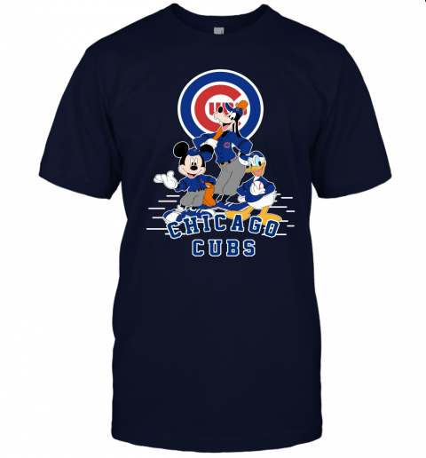 uwlt chicago cubs mickey donald and goofy baseball jersey t shirt 60 front navy