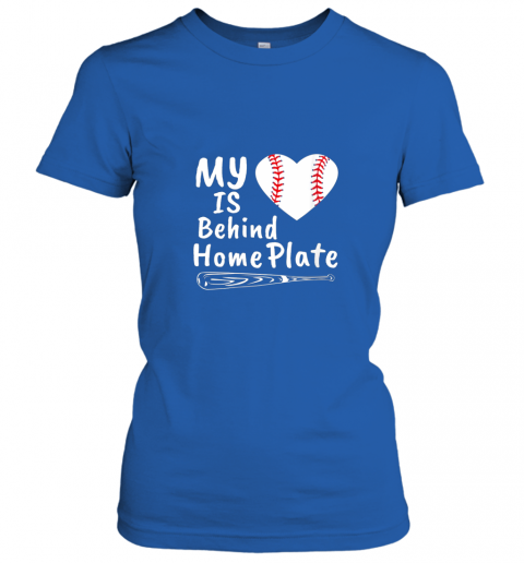 qjrr womens my heart is behind home plate baseball bat mom dad gift ladies t shirt 20 front royal