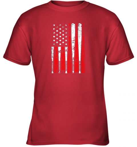 k68p vintage baseball bat american usa flag gift youth t shirt 26 front red