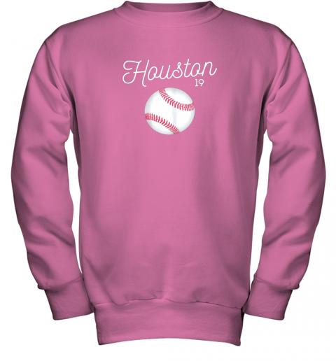 ykv4 houston baseball shirt astro number 19 and giant ball youth sweatshirt 47 front safety pink