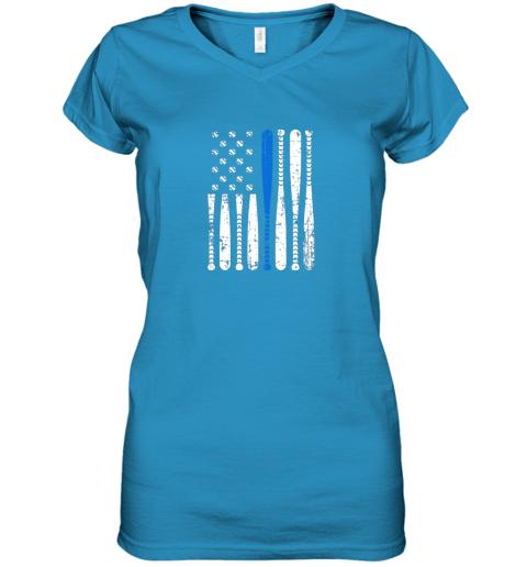 5mir thin blue line leo usa flag police support baseball bat women v neck t shirt 39 front sapphire
