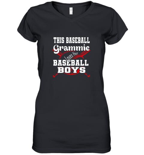 This Baseball Grammie Loves Her Baseball Boys Women's V-Neck T-Shirt