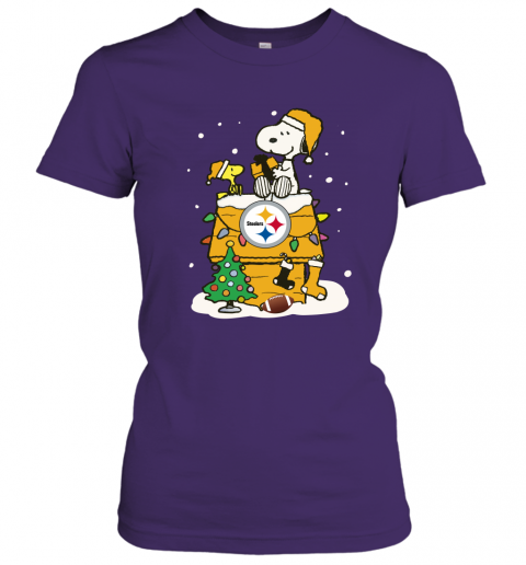 kkkf a happy christmas with pitburg steelers snoopy ladies t shirt 20 front purple