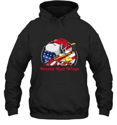 Detroit Red Wings Ice Hockey Snoopy And Woodstock NHL Hoodie