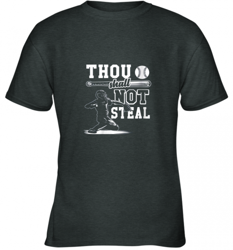 zlsz funny baseball thou shall not steal baseball player youth t shirt 26 front dark heather