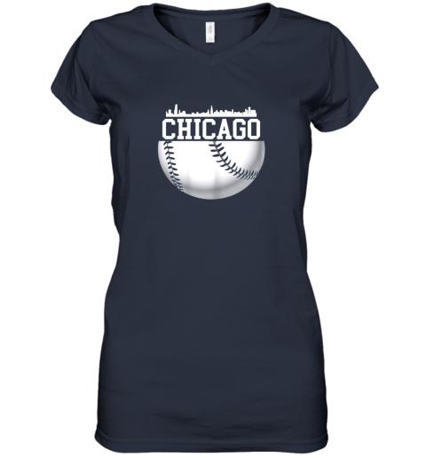 vsrp vintage downtown chicago shirt baseball retro illinois state women v neck t shirt 39 front navy