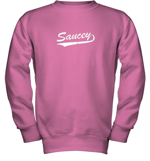 afbh saucey swag baseball youth sweatshirt 47 front safety pink