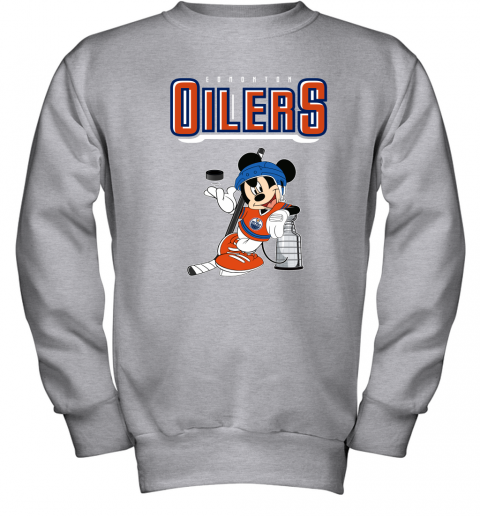 0ud6 mickey edmonton oilers with the stanley cup hockey nhl shirt youth sweatshirt 47 front sport grey