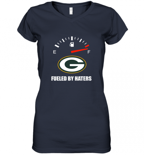 yuqn fueled by haters maximum fuel green bay packers women v neck t shirt 39 front navy