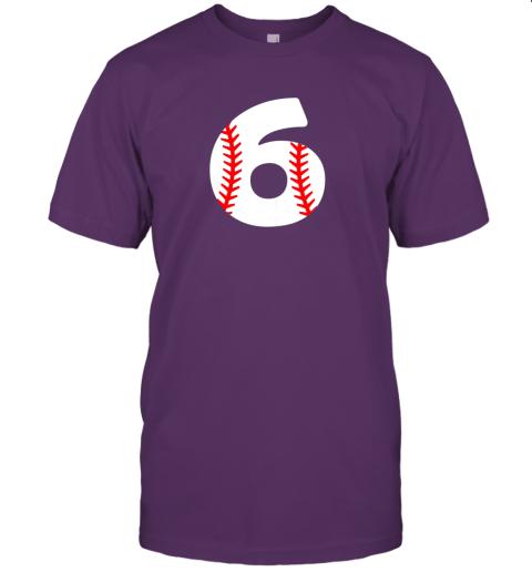 xrvz sixth birthday 6th baseball shirtnumber 6 born in 2013 jersey t shirt 60 front team purple