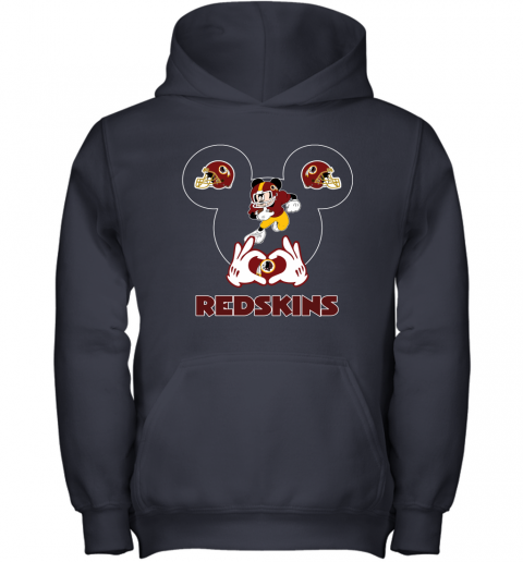 wcro i love the redskins mickey mouse washington redskins youth hoodie 43 front navy