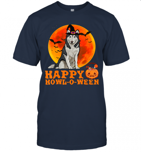 Funny Siberian Husky Dog Halloween Happy Howl-o-ween T-Shirt