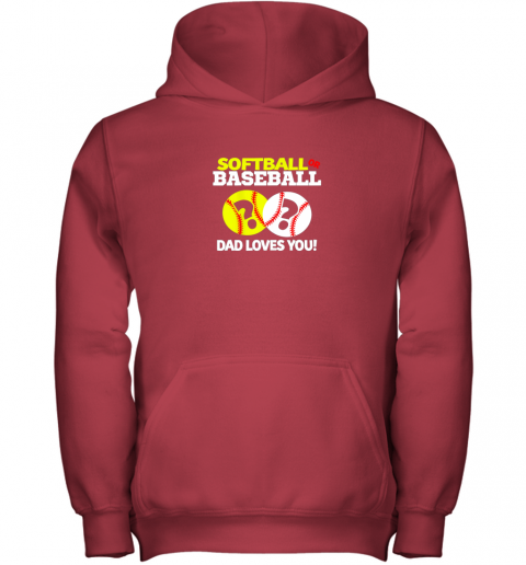 nj0y softball or baseball dad loves you gender reveal youth hoodie 43 front red
