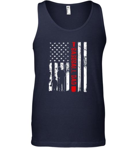 jaqx mens proud baseball dad american flag sports unisex tank 17 front navy