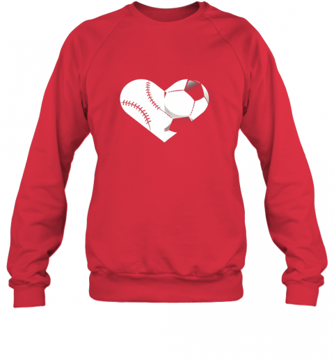 rswr soccer baseball heart sports tee baseball soccer sweatshirt 35 front red