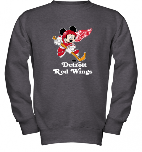 kllm nhl hockey mickey mouse team detroit red wings youth sweatshirt 47 front dark heather