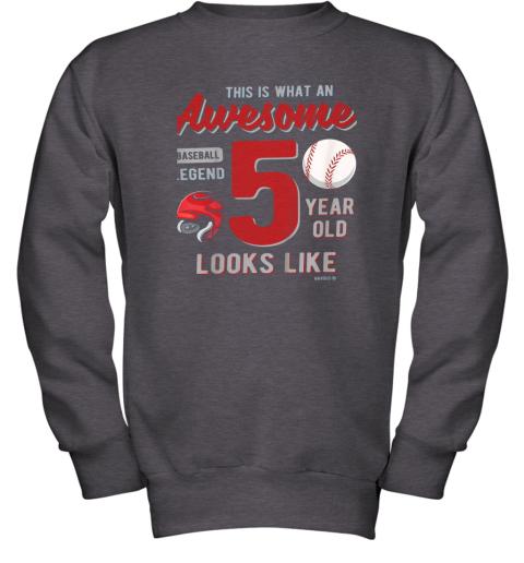 fswj kids 5th birthday gift awesome 5 year old baseball legend youth sweatshirt 47 front dark heather