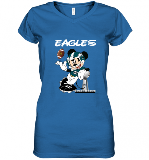 u4a1 mickey eagles taking the super bowl trophy football women v neck t shirt 39 front royal