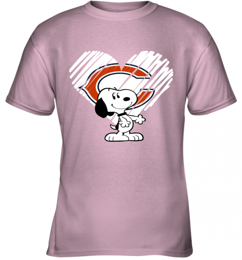 o9kt i love chicago bears snoopy in my heart nfl youth t shirt 26 front light pink