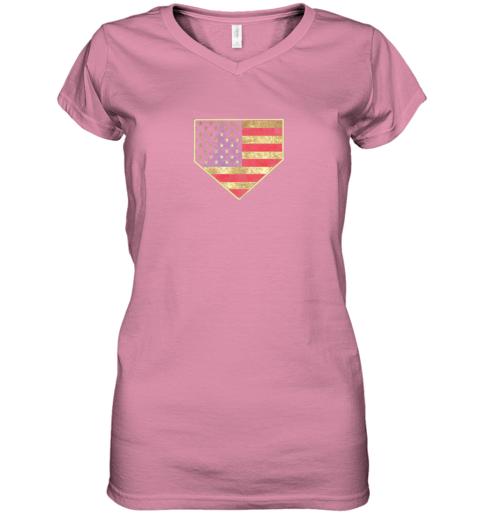 kquw vintage american flag baseball shirt home plate art gift women v neck t shirt 39 front azalea
