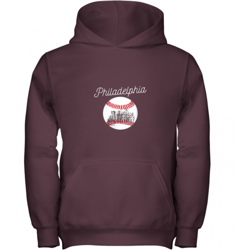 qs54 philadelphia baseball philly tshirt ball and skyline design youth hoodie 43 front maroon