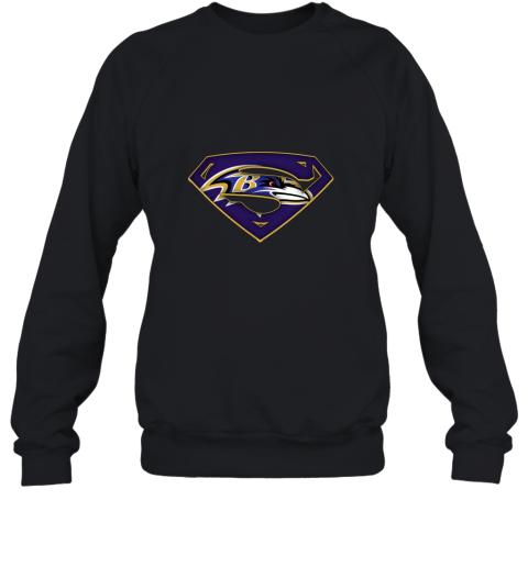 dt3p we are undefeatable the baltimore ravens x superman nfl sweatshirt 35 front black