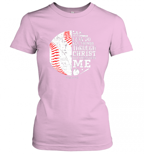 ittw christian baseball shirts i can do all things through christ ladies t shirt 20 front light pink