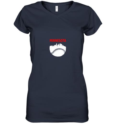 hldv retro minnesota baseball minneapolis cityscape vintage shirt women v neck t shirt 39 front navy