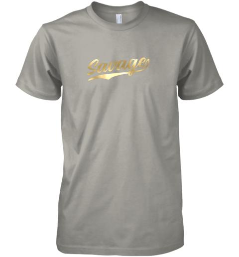 xfmq savage shirt retro 1970s baseball script font premium guys tee 5 front light grey