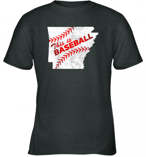 5stn this is baseball arkansas with red laces youth t shirt 26 front dark heather