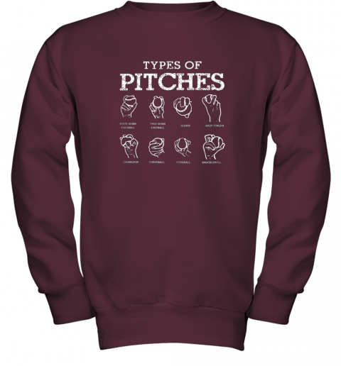r0ws types of pitches softball baseball team sport youth sweatshirt 47 front maroon