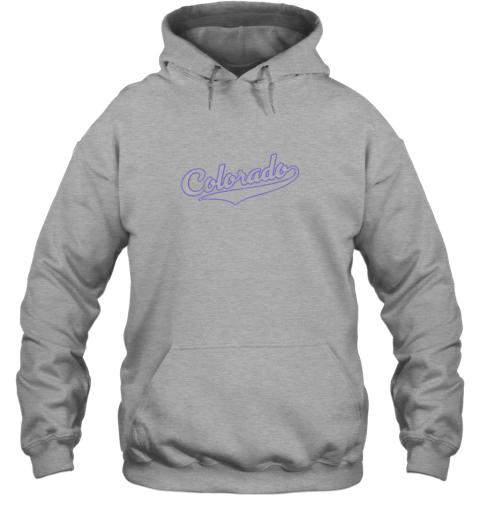 yoar colorado shirtretro baseball script design hoodie 23 front sport grey
