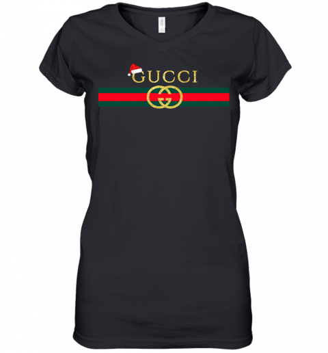 Gucci Logo Christmas Womens V-Neck T-Shirt