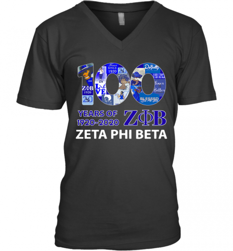 100 Years Of 1920 ZOB Zeta Phi Beta V-Neck T-Shirt