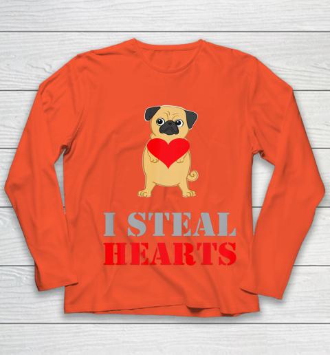 Pug Dog Valentine Shirt I Steal Hearts Youth Long Sleeve 3