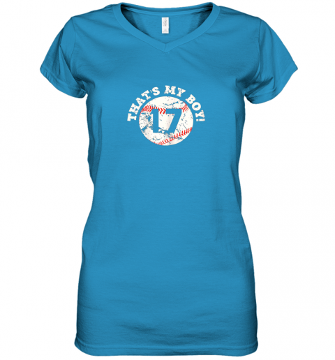 9zi9 that39 s my boy 17 baseball player mom or dad gift women v neck t shirt 39 front sapphire