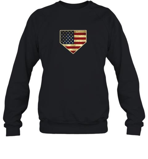 Vintage American Flag Baseball Shirt Home Plate Art Gift Sweatshirt