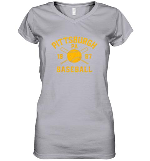 ib3x vintage pittsburgh baseball pennsylvania pirate retro gift women v neck t shirt 39 front sport grey