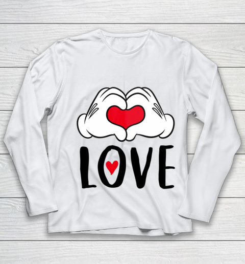 Disney Mickey and Minnie Mouse Heart Hands Love Youth Long Sleeve
