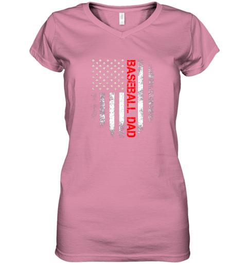 ptfp vintage usa american flag proud baseball dad player women v neck t shirt 39 front azalea